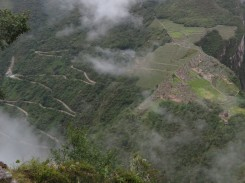 Machu Picchu from the summit of Huayna Picchu showing the switchback road.