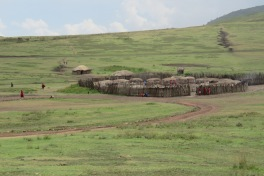 Maasai settlements dot the landscape