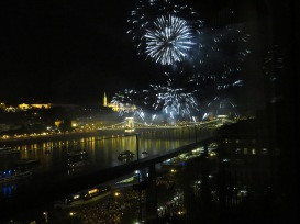 Fireworks to celebrate St. Stephens day in Budapest, Hungary