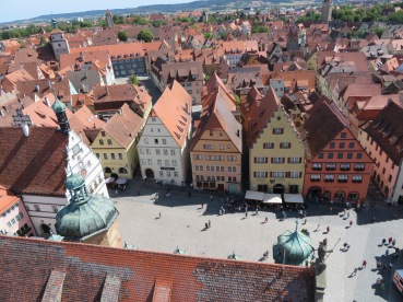 Charming medieval Rothenburg center from the tower