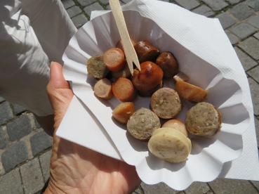 Yummy sausages in medieval Rothenburg, Germany