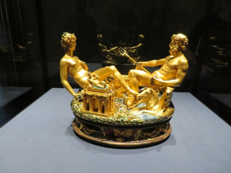 Exquisite gold salt/pepper device at the Fine Arts Museum in Vienna, Austria