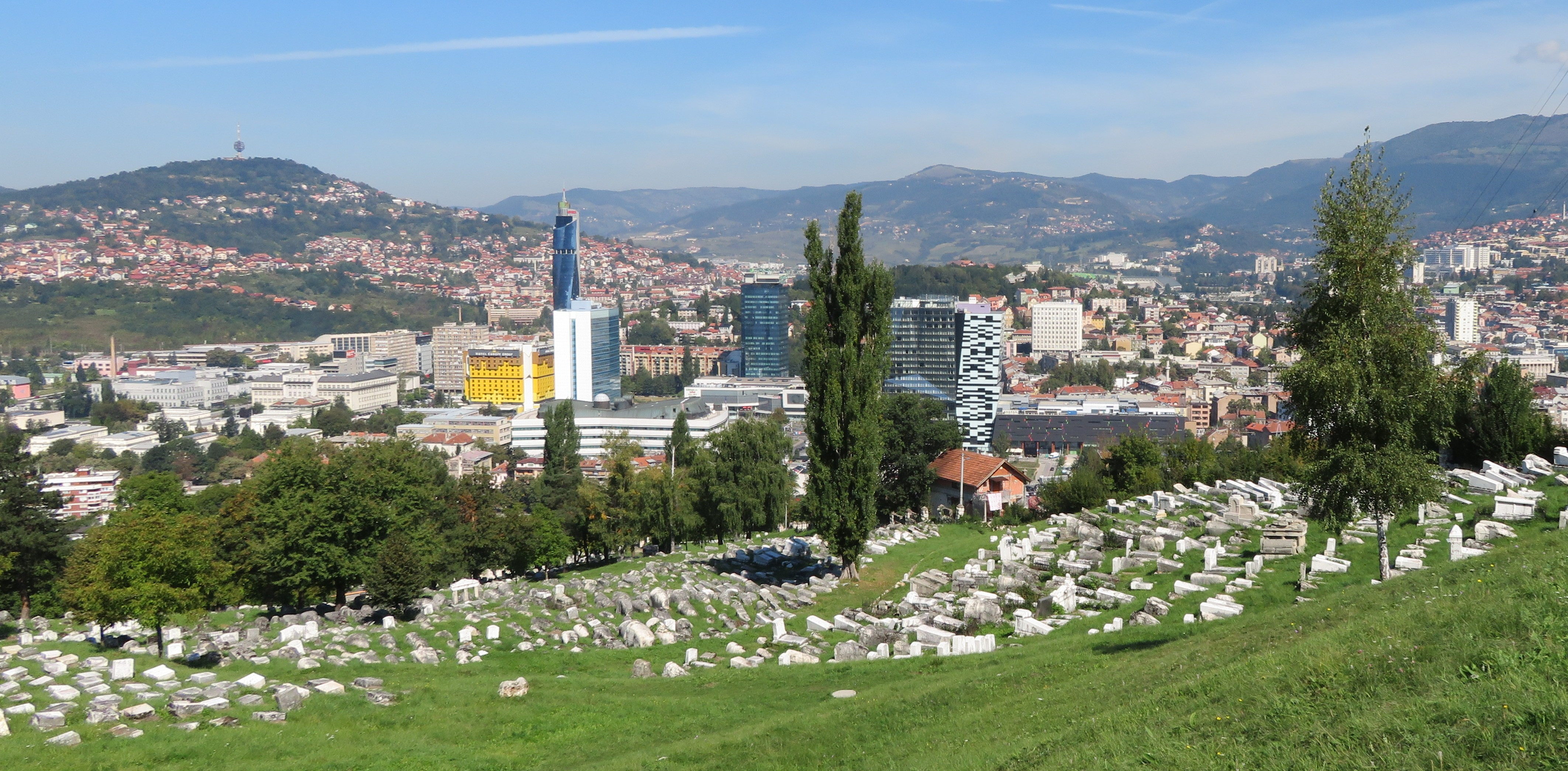 2018 Sarajevo. The ancient Jewish cemetery gave the Serbs a clear line of sight into valley, which became known as Sniper_s Alley. IMG_9205