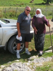My husband Randy made a friend in remote Lukomir: she wanted to sell us socks.