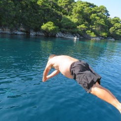 Diving into the Adriatic.