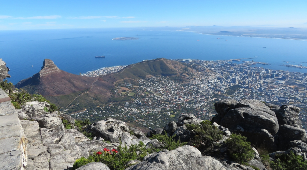 Beautiful view of Lion's Peak, Signal Hill, Cape Town, Robben island and Blouberg from Table Mountain.