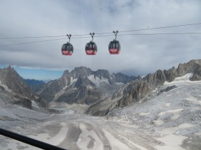 Panoramic cable car to Helbronner, Italy, from Chamonix, France